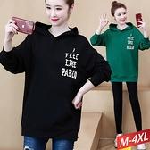 字母燙印口袋連帽T恤(2色) M~4XL【024725W】【現+預】-流行前線-