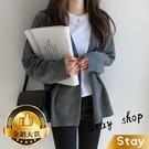 【Stay】韓版顯瘦V領針織外套 百搭外...