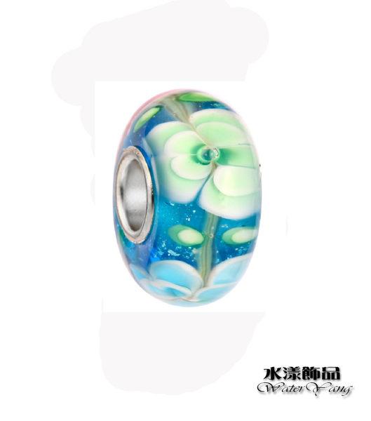 湖水藍白花纹琉璃珠  潘朵拉風DIY串珠手鍊配件