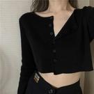 長袖毛衣 小款針織開衫女長袖秋冬毛衣小外套性感超短款外搭高腰露臍bm上衣 交換禮物