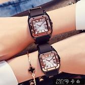 時尚耐用簡約日歷女表個性硅膠表帶女士方形手錶復古潮流情侶對表【全館免運】