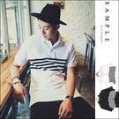 現貨 長版POLO衫【TS13004】韓國製 網眼中間橫紋下擺開衩-EDEN