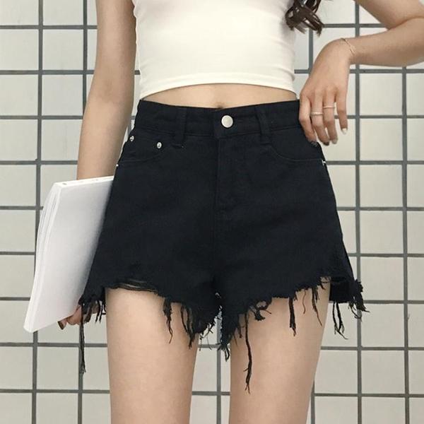 秋裝女裝新款韓版時尚毛邊牛仔短褲高腰