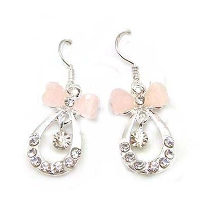 粉紅蝴蝶結與水鑽水滴耳環