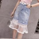 夏牛仔拼接短裙很仙的法國小眾蕾絲中長半身...