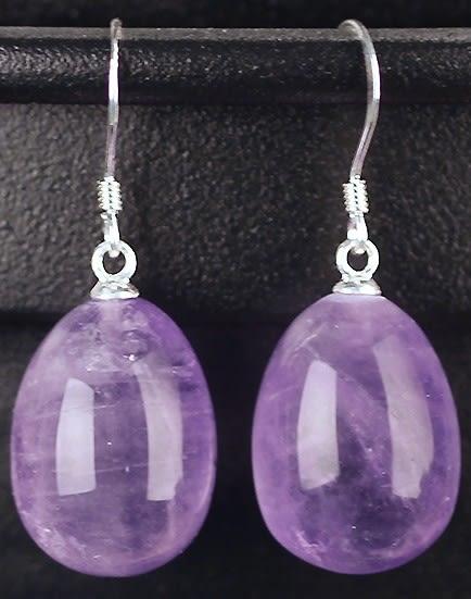 [協貿國際]天然紫水晶水滴耳環925純銀耳勾單對價