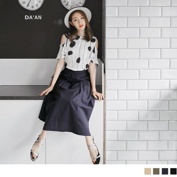 OrangeBear《CA736》棉麻素色口袋造型打褶A字寬鬆長裙.4色--適 2L~7L