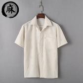 店長嚴選中老年亞麻短袖翻領襯衫加肥加大T恤棉麻爸爸裝男上衣夏季薄款