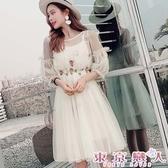 洋裝 韓版立體花朵燈籠袖網紗蕾絲雪紡連身裙★東京戀人MS.Q★6959