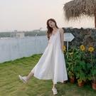 洋裝 女新款沙灘長裙超仙海邊度假白色寬鬆吊帶連衣裙【618特惠】