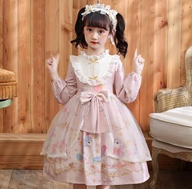 女童洋裝 兒童服裝女童洛麗裙子秋公主裙洋裝洛麗塔連衣裙加絨【快速出貨八折搶購】