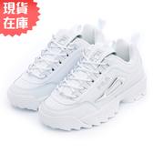 【現貨】FILA Disruptor II Metallic Accent 女鞋 老爹鞋 休閒 厚底 皮革 白 銀【運動世界】5-C608T-103