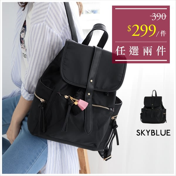 後背包-簡約時髦鉚釘尼龍後背包-單一款-A12121031-天藍小舖