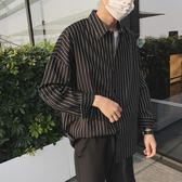 韓國ulzzang長袖白襯衣港風復古chic韓風寬鬆條紋襯衫男外套ins潮     韓小姐