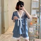 睡衣女夏季冰絲薄款霧藍短袖2021年新網紅爆款春秋絲綢家居服套裝 伊蘿