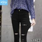 【V3076】shiny藍格子-織細視覺.修身顯瘦彈力膝蓋破洞九分小腳褲