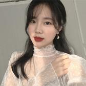 很仙的內搭網紗上衣女初秋2019新款韓版高領波點喇叭袖蕾絲打底衫