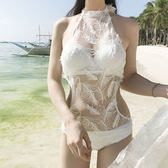 比基尼白色羽毛泳衣女蕾絲鏤空小胸鋼托聚攏三角連體比基尼性感露背泳衣【博雅生活館】