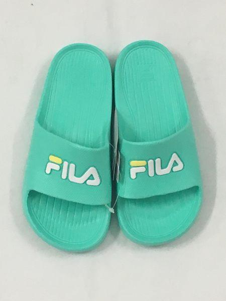 Fila  防水 一體成形 女生 蒂芬妮綠 Logo 拖鞋  4-S355R-666 【 胖媛的店 】