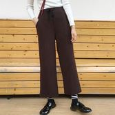 EASON SHOP(GU9576)實拍簡約純色鬆緊腰收腰抽繩綁帶垂感針織寬褲女高腰長褲修身直筒褲顯瘦九分褲