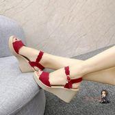 楔型涼鞋 2019夏季新款涼鞋休閒鞋女鞋子韓版時尚露趾高跟鞋厚底楔形性感魚嘴鞋 3色35-39