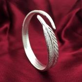 鍍銀時尚手鐲 天使羽毛手鐲 開口可調節手環【多多鞋包店】s338