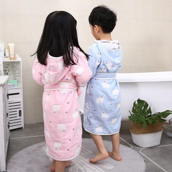 快速出貨-兒童浴袍女孩棉質紗布加厚吸水冬季帶帽浴巾寶寶卡通浴衣睡袍