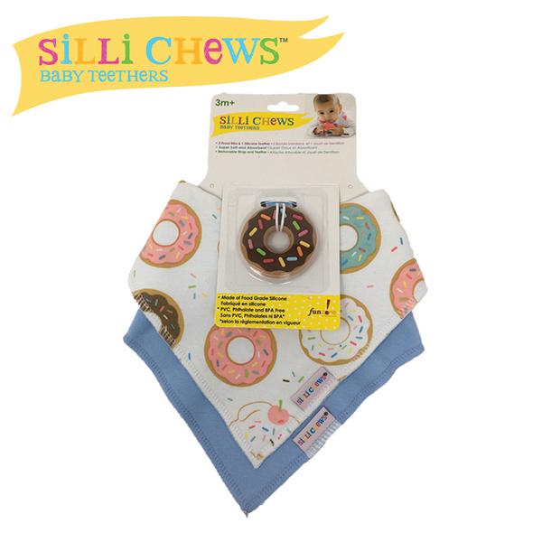 【愛吾兒】美國 SiLLi CHeWS 咬牙器+圍兜2入組 - 甜甜圈/美國設計(SC-62)