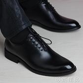 皮鞋男士商務正裝皮鞋英倫韓版青年尖頭百搭隱形內增高6cm軟底黑色鞋