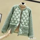 棉服女2020新款大碼短款冬季棉衣潮網紅仿羊毛羔拼接小棉襖外套『潮流世家』
