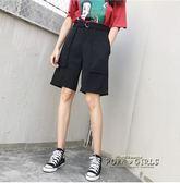 韓國口袋腰帶設計直筒休閒高腰西裝中褲五分褲女夏寬鬆 中性短褲