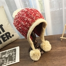 帽子女 針織帽 韓版甜美可愛3球球卷邊清新混色加絨護耳飛機帽毛線帽【多多鞋包店】yp16