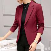 新款春秋女士休閒百搭長袖韓版修身顯瘦短款小西裝外套 YY2900『優童屋』