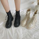 馬丁靴 英倫鞋  潮酷機車靴松糕厚底馬丁靴女英倫帥氣黑白色短靴秋冬單靴子