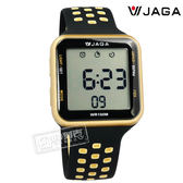 JAGA 捷卡 / M1179C-AL / 方型電子 計時碼錶 鬧鈴 防水100米 透氣運動 矽膠手錶 黑金色 38mm