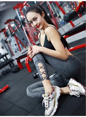 運動跑步褲女生 壓力褲 瑜伽褲  速乾高彈力鏤空編織~廣告韓國名星同款(高品質)~麻灰色 現貨