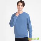 素色圓領厚棉T恤藍色-bossini男裝
