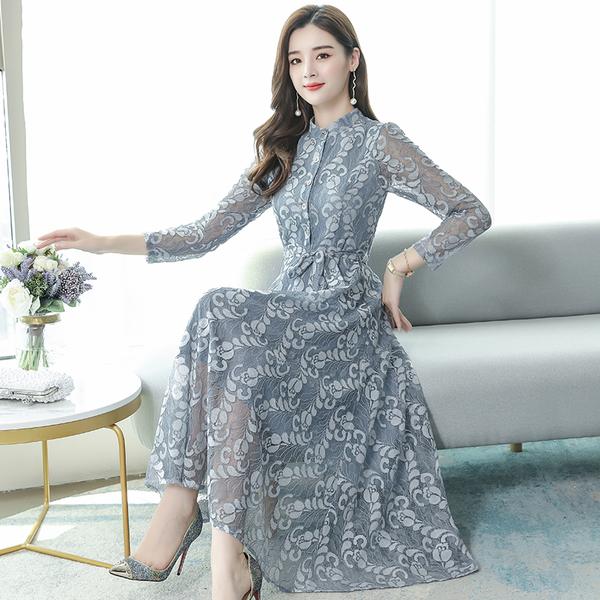 超殺29折 韓國風氣質顯瘦蕾絲雪紡長裙長袖洋裝