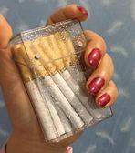 閃光煙盒 銀色個性化尺寸定制時尚韓版彩色閃光片塑料男女