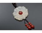 冰種白玉髓 / 紅瑪瑙 長鍊 蓮花象徵著一種清淨無染的境界。°☆╮喨喨飾品╭☆° M44