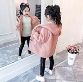 女童外套 女童羊羔毛外套冬裝新款兒童洋氣皮毛一體加絨小女孩韓版童裝【快速出貨八折下殺】