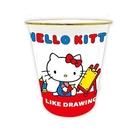小禮堂 Hello Kitty 圓形無蓋垃圾桶 塑膠垃圾桶 圓垃圾桶 收納桶 (紅 畫板) 4930972-51201