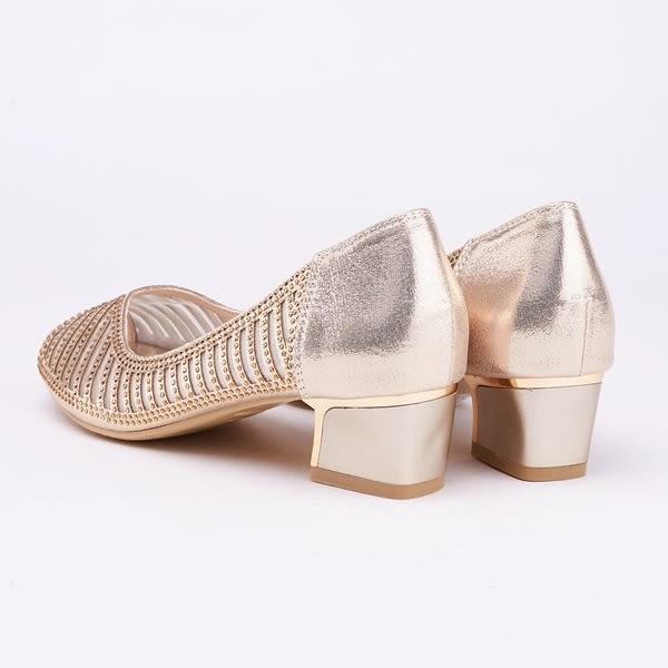 kadia.華麗響宴 水鑽點綴魚口粗跟鞋(9052-25金色)