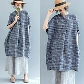 連身裙-亞麻細密格紋蝙蝠袖寬鬆女洋裝2色73te6【巴黎精品】