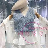 排釦背心 無袖V領單排扣修身氣質上衣女夏季新品正韓百搭蕾絲鉤花背心