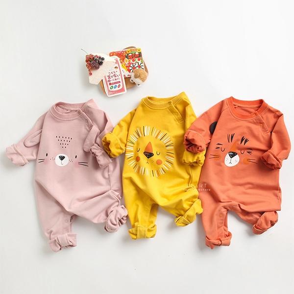 可愛動物圖案長袖包屁衣 長袖包屁衣 連身衣 嬰兒裝 包屁衣