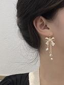 S925銀針日韓國甜美蝴蝶結耳釘珍珠流蘇長款耳環氣質網紅耳夾1661 伊蘿