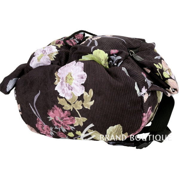 SEE BY CHLOE Joy Rider 鑰匙吊飾印花絨布面後背包(黑色) 1910074-01