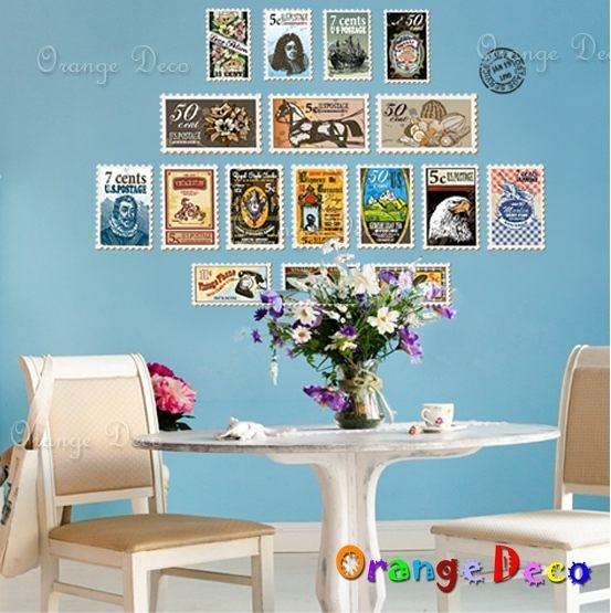 壁貼【橘果設計】郵票集 DIY組合壁貼 牆貼 壁紙室內設計 裝潢 壁貼