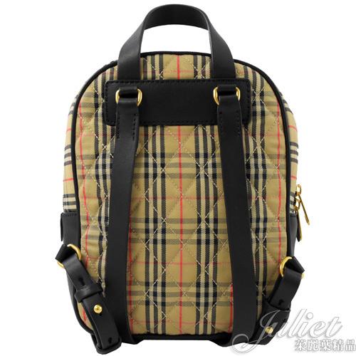 茱麗葉精品【全新現貨】BURBERRY 80046531 Check Link 格紋鎖鏈飾後背包.黑
